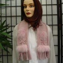 New Pink Shearling Lamb Fur Scarf  Photo