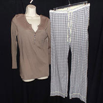 New Pj Salvage Silky Smooth Mocha Henley Top & Grey Plaid Pajama Pants Set M Photo