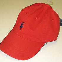 New Polo by Ralph Lauren Baseball Cap Hat Red 100% Cotton Nwt 30.00 One Size Photo