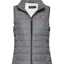 New Polo Ralph Lauren 298 White Navy Striped Down Vest M Photo