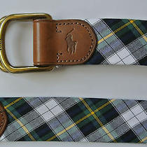New Polo Ralph Lauren Navy Multi Madras Cotton Leather Double D Ring Pony Belt L Photo