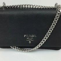 New Prada 1bd009 Fabric Leather With Chain Black Saffiano and Nylon Shoulder Bag Photo