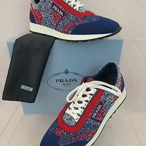 New Prada 1e371l Red Blue Fabric Trainers Knit Logo Lace Up Sneakers 39.5 It Photo