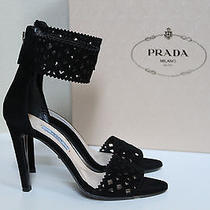 New Prada Black Cutout Suede Ankle Wrap Sandals Heel Shoes Sz 7 / 37 Photo