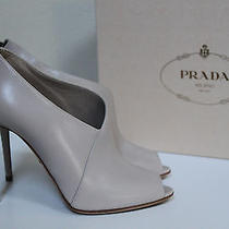 New Prada Black Leather Peep Toe Ankle Bootie Pump Shoes Sz 8.5 / 38.5 Photo