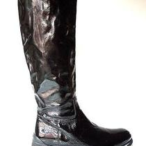 New Prada Black Patent Leather Logo Tall Flat Riding Boots 39.5 Us 9.5 9 Photo