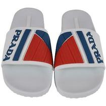 New Prada Men's 4x3204 White Blue Red Rubber Slides Sandals Shoes 7 Uk 8 Us Photo