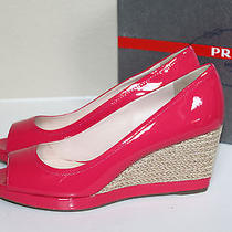 New Prada Pink Paten Leather Peep Toe Wedge Heel Platform Sandal Shoes 9.5 39.5 Photo