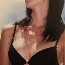 New Pretty Bikini Top 38c Avon Black Turquoise Bead Summer Holiday Photo