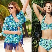 New Pretty Palm Print Plus Cup Size Bikini Kimono 34e 34dd 10-12 Avon Green Blue Photo