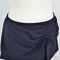 New Profile by Gottex Ladies Navy Blue Shirred Front Tie Bikini Swim Skirt Sz 8 Photo