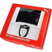 New Puma Ferrari Black Men's Credit Card Wallet Key Ring Gift Set Pmmo 3020 Photo