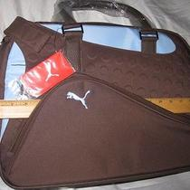 New Puma Golf Weekender Bag Carry on Duffle Gym Luggage Brown Powder Blue Bnwt  Photo