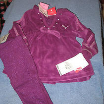 New-Puma-Infant-Girls-3-6-Months-Purple-2-Piece-Top-and-Leggings-Sparkly Photo
