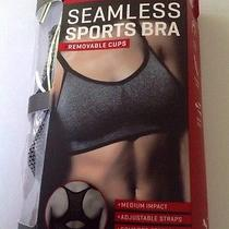 New Puma Ladies Seamless Comfort Stretch Sports Bra Removable Cups Gray Size Xl Photo