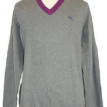 New Puma Mens Sweater Golf Sport v-Neck Elbow Patch Knit Grey Purple Sz Xxl 2xl Photo