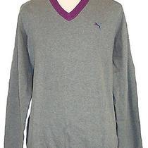 New Puma Mens Sweater Golf Sport v-Neck Elbow Patch Knit Grey Purple Sz Xxl 2xl Photo