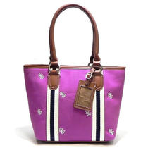 New Purple Canvas Petite Jenny Shopper Satchel Shoulder Bag Hobo Tote Purse Photo