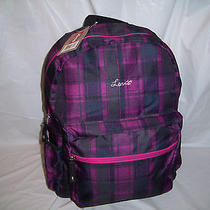 New Purple Checkered Plaid Levi's Backpack Laptop Sleeve School Book Bag 16