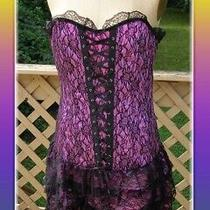 New Purple Lavender Lace Corset Dress by Bloom Brand Size L 8-10 Ruffle Bottom Photo