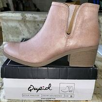 New Qupid Philly-09 Side Cut-Out & Zipper Low Ankle Booties Boots Blush Pink 9 Photo