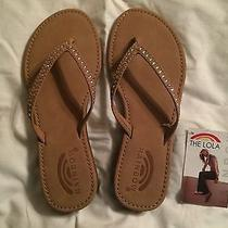 New Rainbow Lola Sierra Brown Leather Swarovski Crystals Sandals Women's Size 7 Photo