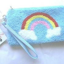 New Rainbow Purse Chloe Alexis Wristlet Fuzzy  Bag Zipper Blue Case Nwt Pride Photo