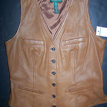 New Ralph Lauren 100% Lamb Leather Womens Brown Vest Xsmall Photo