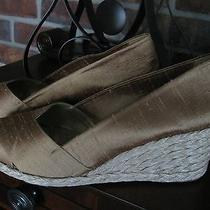 Newralph Lauren 91/2 Silk Espadrille Wedge  Golden Wheat Shoes Photo