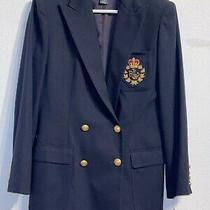 New Ralph Lauren Double Breasted Jacket Crest Blazer Navy 100% Wool Womens 8 Nwt Photo