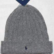New Ralph Lauren Men's Lambs Wool Knit Beanie Ski Hat Pony Light Gray One Size Photo