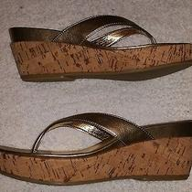 New Rampage Women's Quartz Brass Cork Wedge Sandals Size 8m Photo