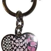 New Rare Authentic Coach Signature C & Pink Enameled Heart Key Ring Key Fob Htf Photo