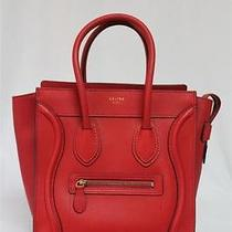 New Rare Celine Coquelicot Red Micro Luggage Drummed Leather Bag  Photo