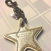 New Rare Coach Gold & Silver Metallic Star Key Chain Ring Fob Leather Reversible Photo