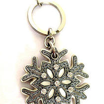 New Rare Coach Pewter Crystal Leather Snowflake Key Chain Ring Fob Purse Charm  Photo