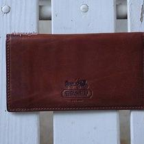 New Rare Coach Whiskey Embossed Checkbook Cover Carriage Photo