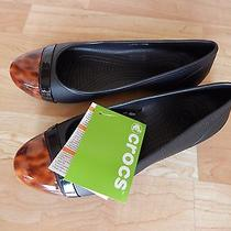 New Rare Crocs 44.99 Cap Toe Tortoise Black Flats 7 M Photo