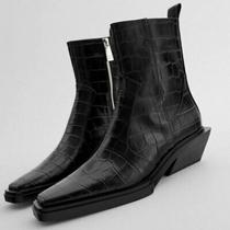 New Rare Zara Black Croc Animal Embossed Heeled Ankle Boot 7.5 38 Bloggers Htf Photo