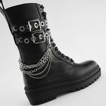 New Rare Zara Leather Laced Chain Ankle Boot Combat Black Silver Buckle Bloggers Photo