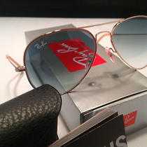 New Ray Ban Aviator Sunglasses 001/3f Gold W/ Gradient Blue Lens 58mm Nwt  Photo