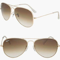 New Ray Ban Aviator Sunglasses 001/51 Gold W/ Gradient Brown Lens 58mm Nwt  Photo