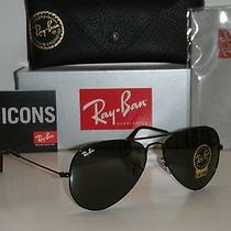 New Ray Ban Aviator Sunglasses Black Rb302 L2823 Green Lens 58mm 100%  Authentic Photo