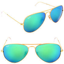 New Ray Ban Aviator Sunglasses Matt Gold 112/19 Mirror Flash Green 58mm Nwt Photo