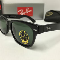 New Ray Ban Rb 2132 901l 55mm Wayfarer Sunglasses Black With Green Lens Larger Photo