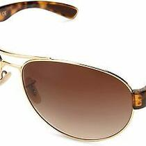 New Ray Ban Rb3509 001/1363mm Arista Gold Brown Gradient Aviator Sunglasses  Photo