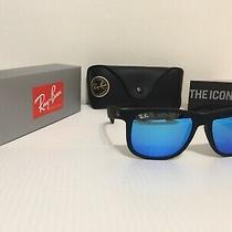 New Ray Ban Rb4165 622/55 Justin 55mm Matte Black Blue Mirror Sunglasses Photo