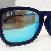 New Ray Ban Sunglasses Rb4187 608155 Chris Blue Velvet Frame Blue Mirrored 54m Photo
