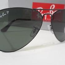 New Rayban Sunglasses Rb3025 002/58 Black Frame Green Polarized 58mm Lens Photo