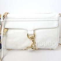 New Rebecca Minkoff Mini Mac Leather Clutch Crossbody White Photo